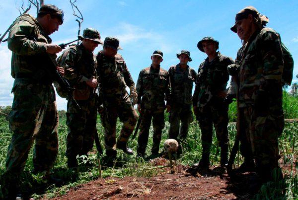 Militares en un campo de coca mirando un cráneo